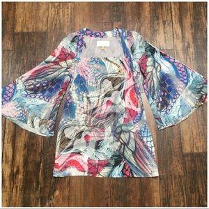 Leifsdottir Psychedelic Butterfly Bell Sleev Dress